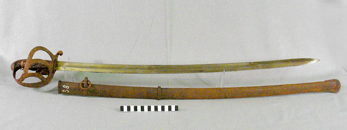 Inv. Nr. 02513, M 1852 für Offiziere der preußischen Kavallerie Korkgriff mit Lederhilze und Silberdrahtwicklung