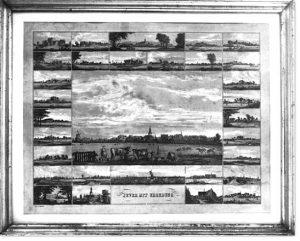 Jever mit Umgebung. Lithographiertes Tableau. Verlag C.L. Mettcker, Jever. Um 1850. 52,5 x 64 cm