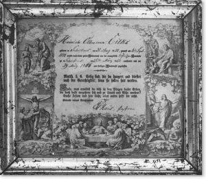 Konfirmationsschein. Federlithographie, Buchdruck. Ausgestellt in Schortens 1866. 23 x 26 cm