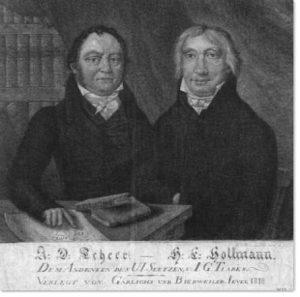 Doppelporträt zweier Jeveraner Bürger. Schabkunstarbeit. Verlag Garlichs und Bierweiler, Jever. 1818. 31 x 32 cm