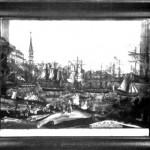 32 Ein Hinterglasbild aus dem Jahre 1857. Ansicht des Hafens von Boston