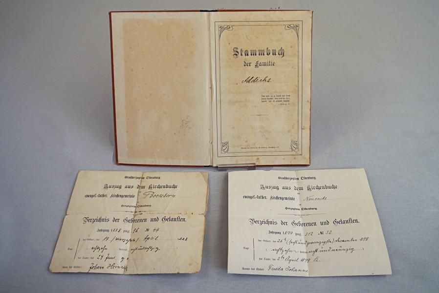 Stammbuch und Auszüge aus dem Kirchenbuch, um 1900