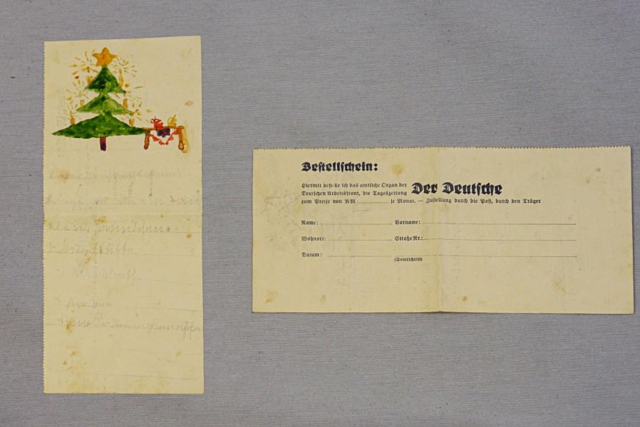 Wunschzettel auf Bestellschein, ca. 1940