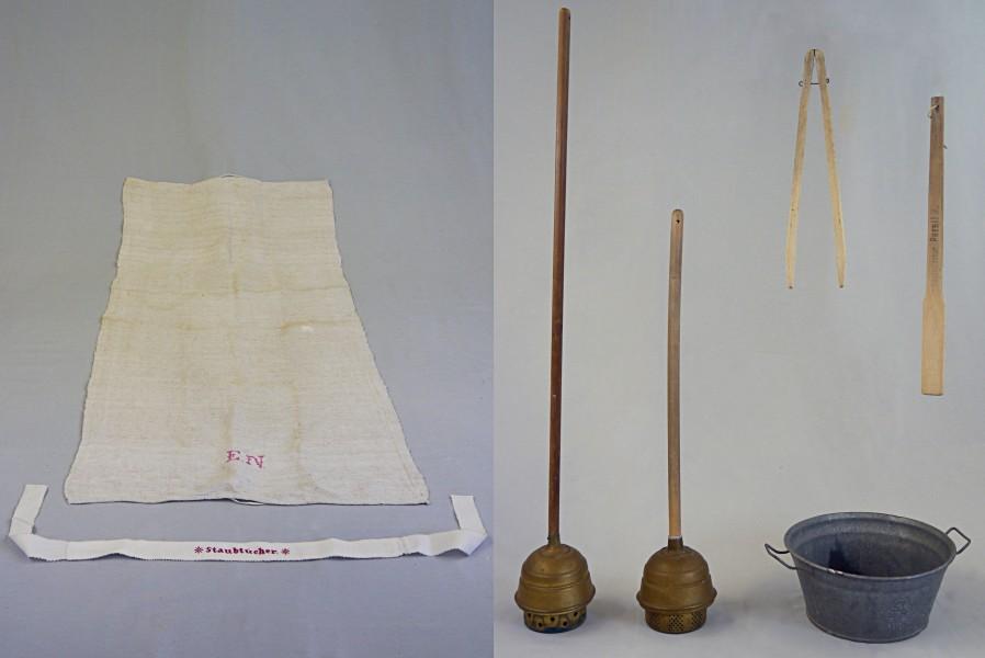Handtuch und Band, ca. 1890. Wäschestampfer, Zange, Rührstab und Wanne, ca. 1930