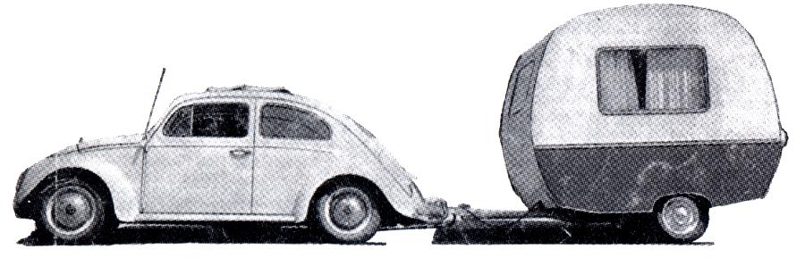 VW-Kaefer mit dem Wohnwagen 'Schwalbennest'. 1950er Jahre