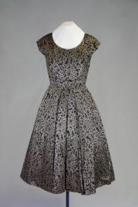 Cocktailkleid. 1950er Jahre. Baumwolldamast.