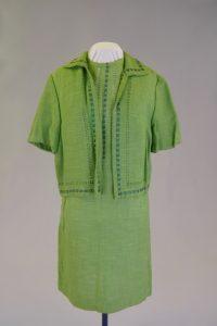 """Kleid mit Jacke, """"Couplet"""". Um 1960. Leinen."""