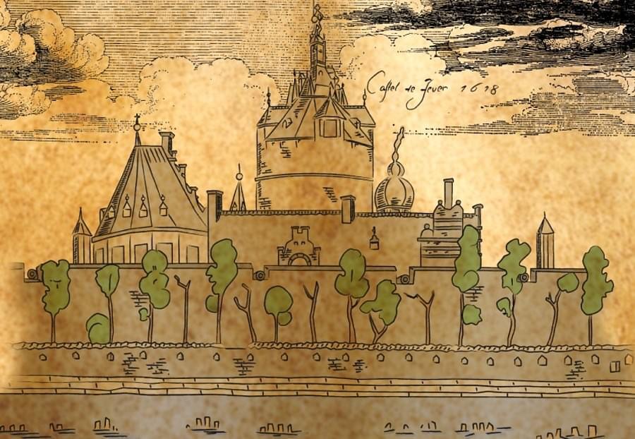 Kolorierte Zeichnung der jeverschen Burganlage mit ihren drei Türmen, 17. Jhd.