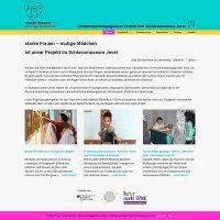 Bildschirmfoto 'Starke Frauen – mutige Mädchen' www.starkundmutig.de