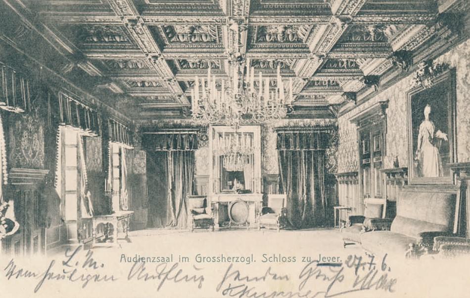 Der wohnlich eingerichtete Audienzsaal. Postkarte, 1906