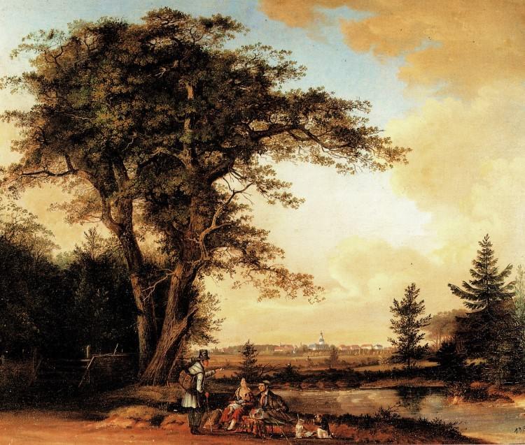 Ansicht vom Upjeverschen Forst über das Moorland nach Jever. Gemälde Friedrich Barnutz 1838. Schlossmuseum Jever