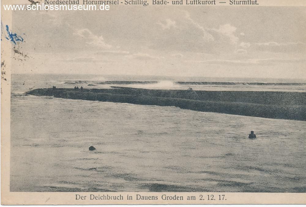 Auch Motive von Katastrophen wurden abgebildet. Diese Abbildung zeigt den Deichbruch von Dauens Groden 1917