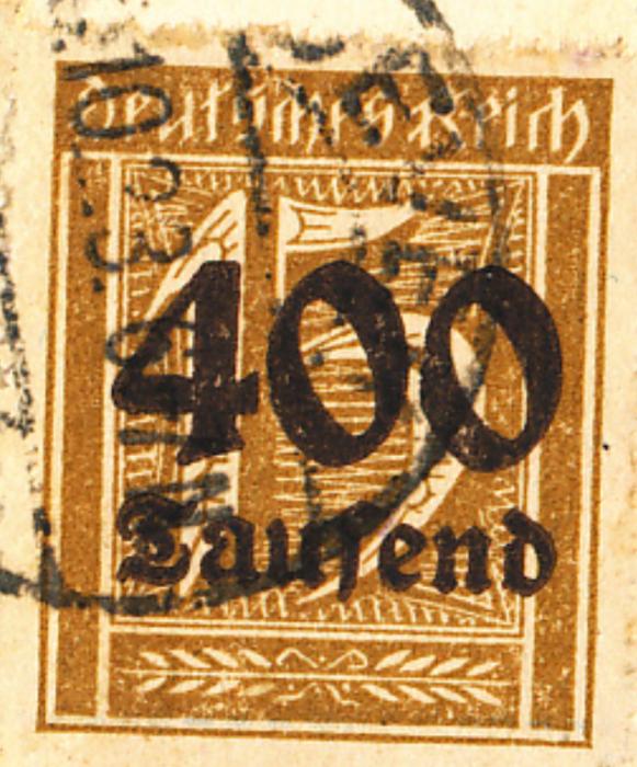 Eine 400 Tausender Briefmarke von 1923