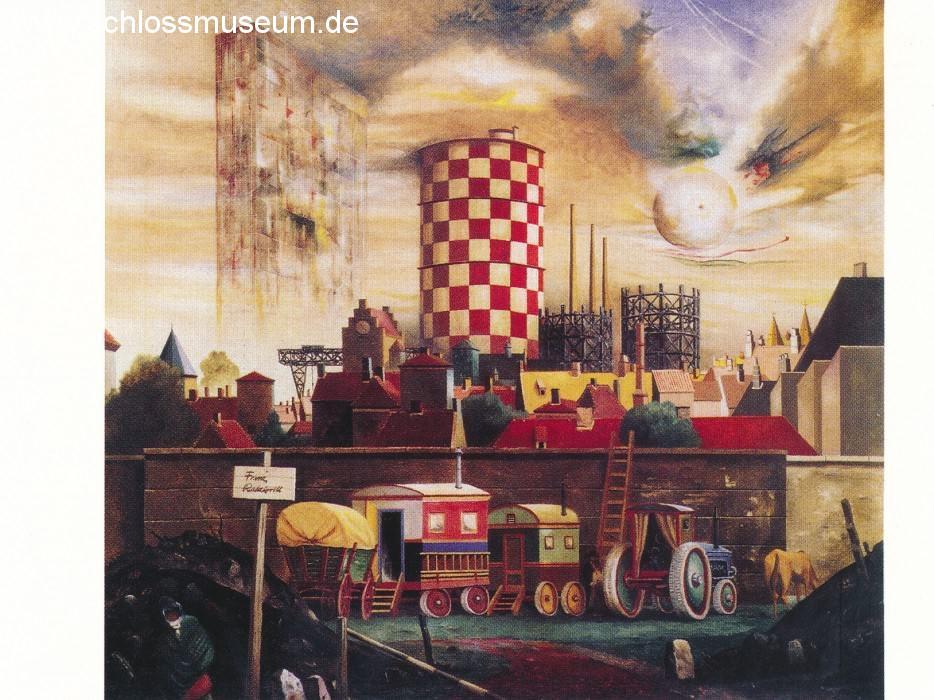 """Das Postkartenmotiv zeigt das Gemälde """"Der bunte Gasometer"""" von Franz Radziwil"""
