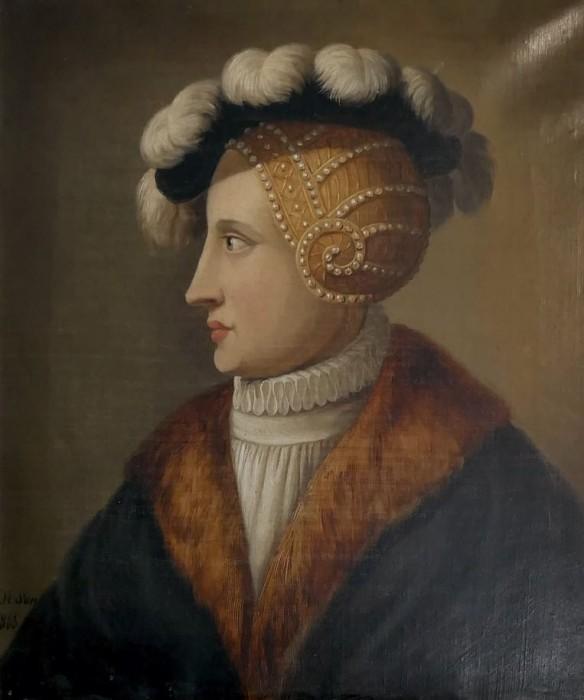 Abb. 1: Caspar Heinrich Sonnekes, Fräulein Maria von Jever, 1865, Öl auf Leinwand, Höhe: 41 cm, Breite: 35 cm, Schlossmuseum Jever.