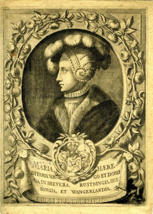 Abb. 2: Pierre Philippe, Fräulein Maria von Jever, 1671, Kupferstich, Höhe: 22,4cm, Breite 17,1 cm, Schlossmuseum Jever.