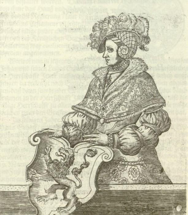 Abb. 3: Unbekannter Künstler, Fräulein Maria von Jever, 1599, Druckgraphik, Höhe: 16,1 cm, Breite: 14,1 cm, Schlossmuseum Jever. (Hamelmann 1599, S. 419.)