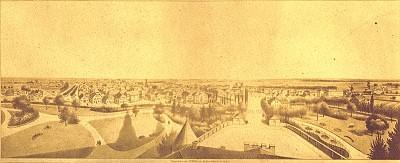 Panoramablick vom Schlossturm auf den Schlosspark in Jever, F.G. Müller, nach 1857