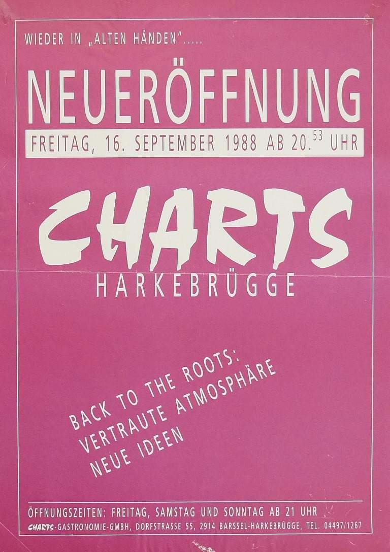Plakat zur Neueröffnung des Charts am 16. September 1988