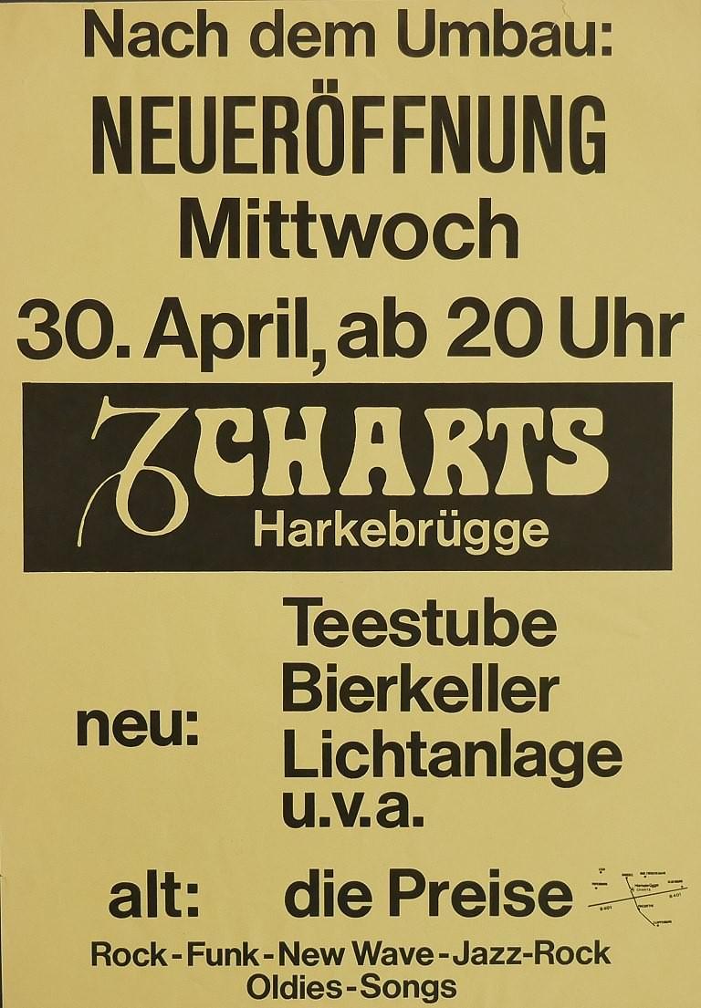 Plakat zur Wiedereröffnung des Charts am 30. April 1980