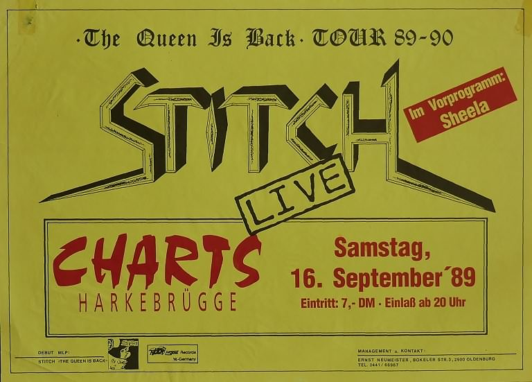 Stitch, 16. September 1989, Charts, Harkebrügge