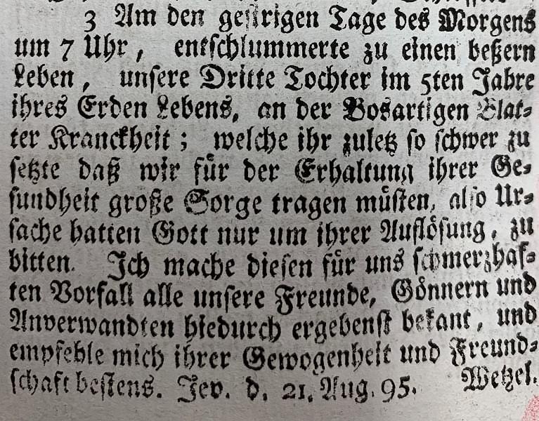 Todesanzeige in den Jeverschen wöchentlichen Anzeigen 21. August 1795