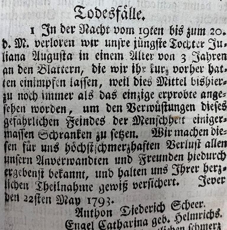 Todesanzeige eines nach einer Impfung verstorbenen Kleinkindes in den Jeverschen Wöchentlichen Anzeigen 22. Mai 1793