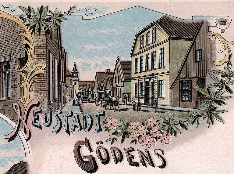 Postkartenausschnitt 'Hotel zur Deutschen Eiche' Neustadtgödens
