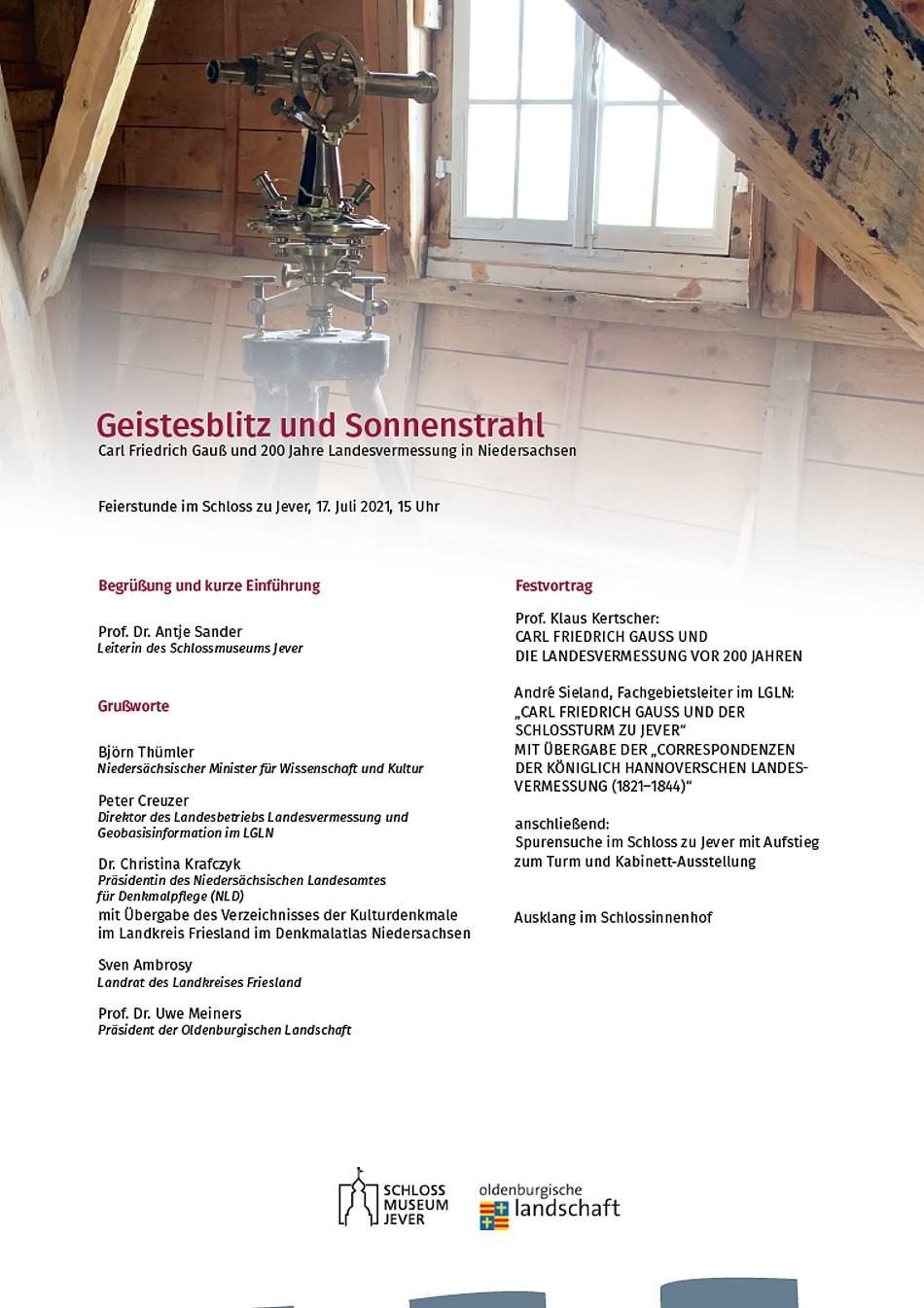 Feierstunde Carl Friedrich Gauß - 200 Jahre Landesvermessung im Schloss am Sa. 17.07.2021