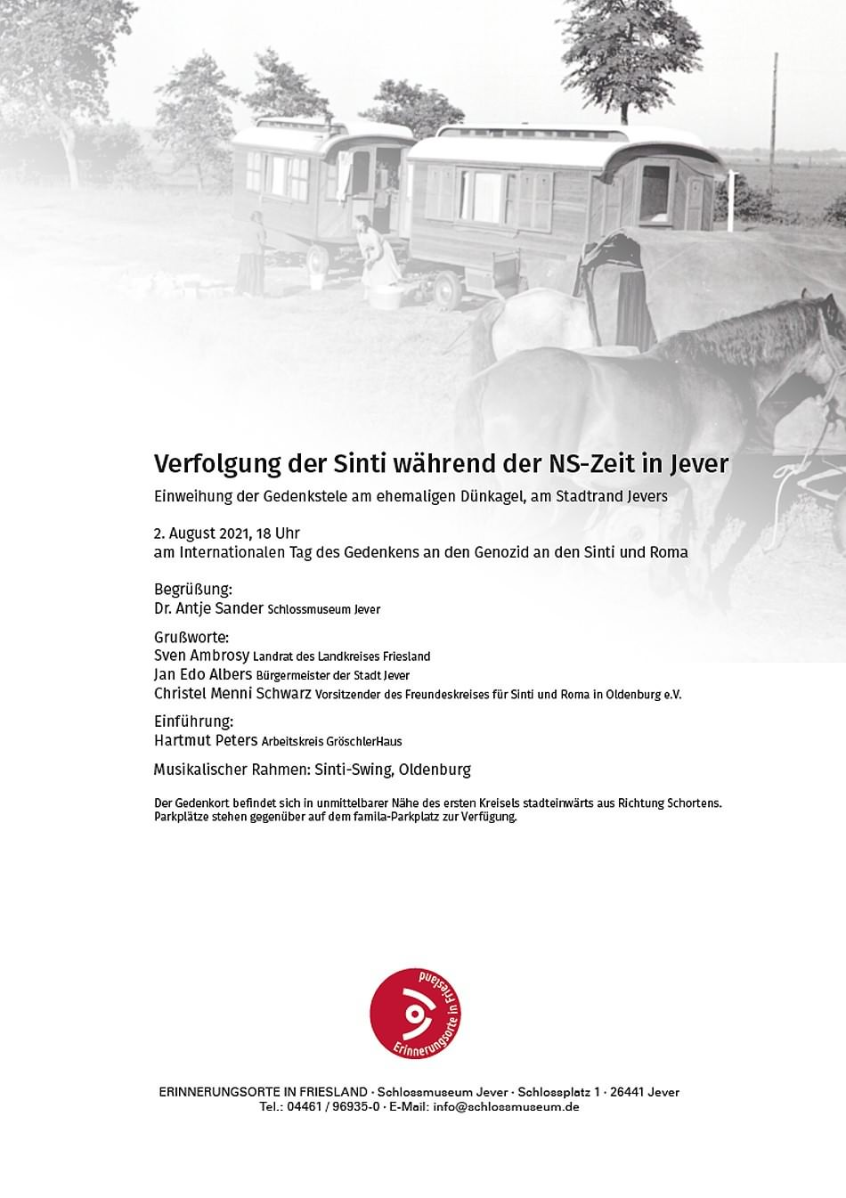 Einweihung der Gedenkstele zur Verfolgung der Sinti während der NS-Zeit in Jever