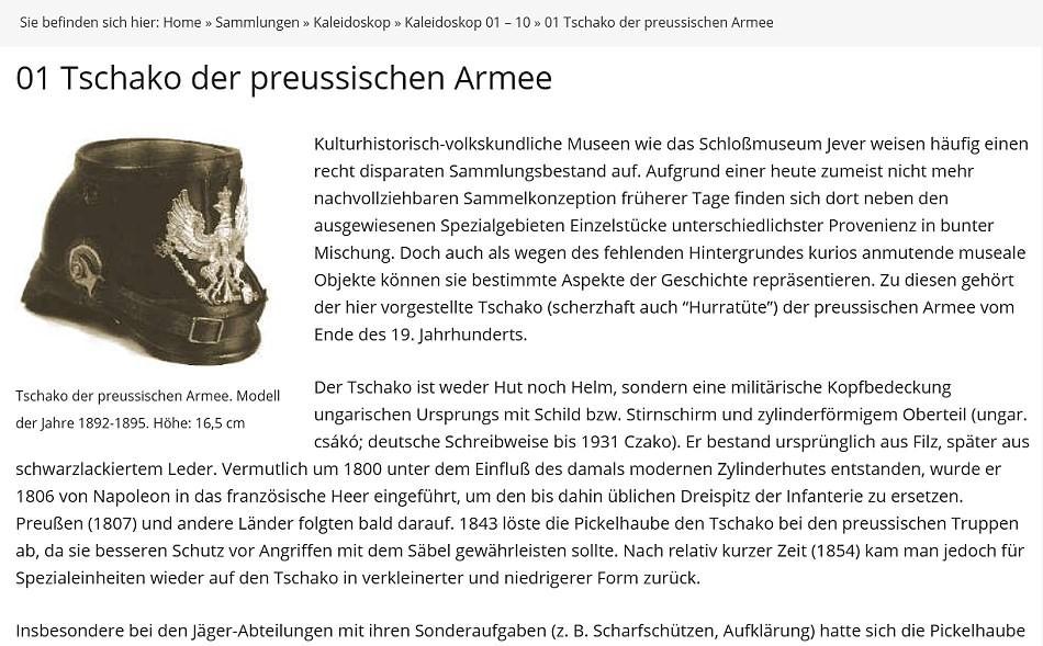 Kaleidoskop: 01 Tschako der preussischen Armee