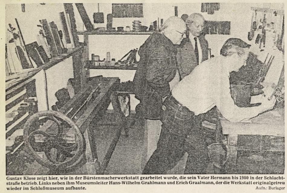 Nachempfundene Handwerkerstube im Schlossmuseum Jever; Jeversches Wochenblatt vom 1.10.1983.